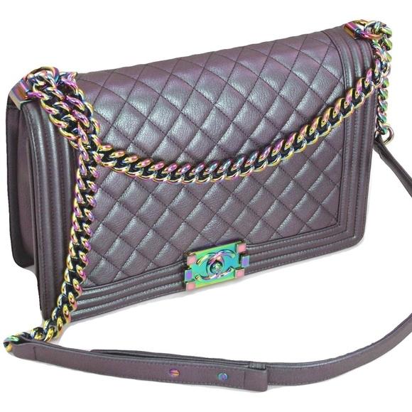 d7eb1c004397b0 CHANEL Handbags - CHANEL Mermaid Purple Iridescent Flap Boy Bag